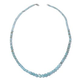 67 Carat Paraibe Apatite Beaded Neckalce in Rhodium Plated Silver 18 Inch