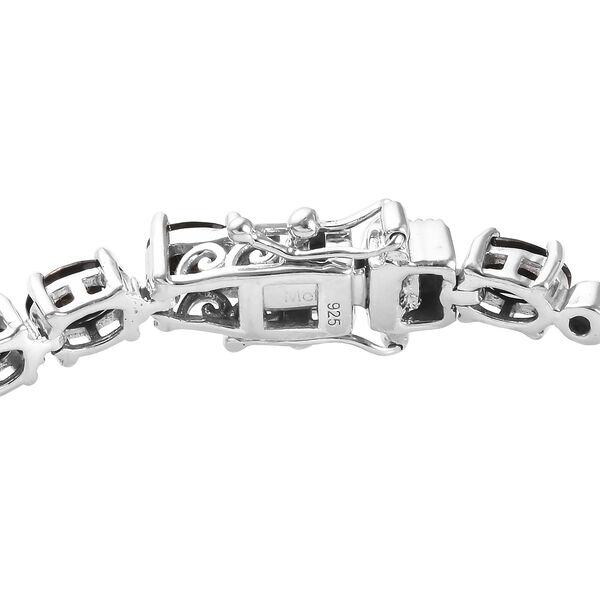 Elite Shungite (Ovl), Diamond Bracelet (Size 7.5) in Platinum Overlay Sterling Silver 7.05 Ct, Silver wt 11.50 Gms
