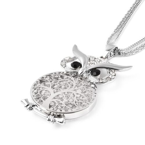 Black and White Austrian Crystal Owl Pendant with Chain (Size 28 with  3 inch Extender) in Silver Tone