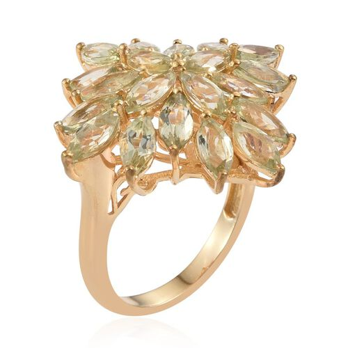 Natural Canary Apatite (Mrq) Cluster Ring in 14K Gold Overlay Sterling Silver 7.500 Ct.