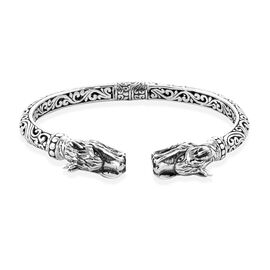 Royal Bali Collection Sterling Silver Dragon Bangle (Size 7.5), Silver wt 25.60 Gms