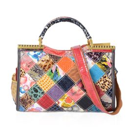 100% Genuine Leather Multi Colour Blocking Tote Bag with External Zipper Pocket and Removable Should