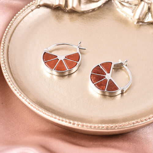 Isabella Liu Dance of Ginkgo - Red Jade Hoop Earrings (with Clasp) in Rhodium Overlay Sterling Silver 9.11 Ct.
