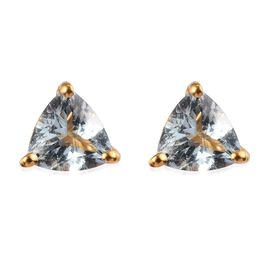 Santa Teresa Aquamarine Stud Earrings (with Push Back) in 14K Gold Overlay Sterling Silver 1.25 Ct.