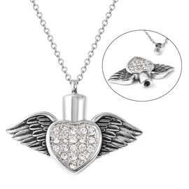 2 Piece Set - White Austrian Crystal Memorial Wing Heart Pendant with Chain (Size 20) and Funnel wit