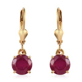 African Ruby (Rnd) Lever Back Earrings in 14K Gold Overlay Sterling Silver 3.75  Ct.