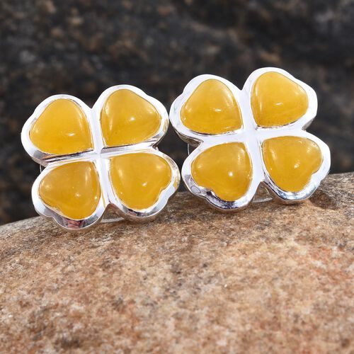Burmese Yellow Jade (Hrt) Clover Stud Earrings (with Push Back) in Sterling Silver 8.000 Ct.