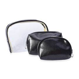 Set of 3 - 1 Transparent and 2 Solid Metallic Black Colour Cosmetic Bag with Zipper Closure