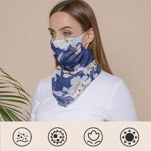2 in 1 Flower Pattern Chiffon Soft Feel Scarf and Protective Face Covering (Size 45x45 Cm) - Pink &
