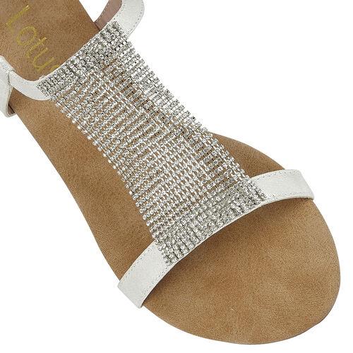 Lotus Avelina Open-Toe Flat Sandals (Size 4) - Silver