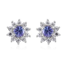 1.22 Ct Tanzanite and Zircon Stud Floral Earrings in Platinum Plated Sterling Silver