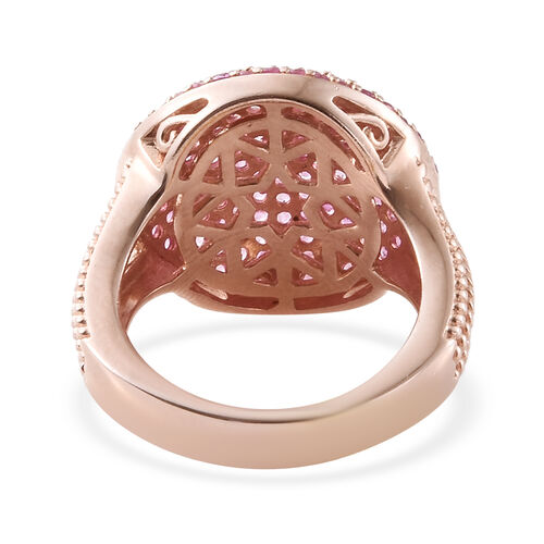 Pink Sapphire (Rnd) Cluster Ring in Rose Gold Overlay Sterling Silver 3.000 Ct, Silver wt 6.26 Gms, Number of Gemstone 166.