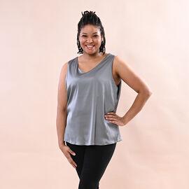 JOVIE Solid Colour Satin Vest (Size up to 18; 56x68cm) - Grey