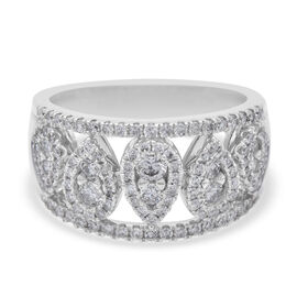 NY Close Out Deal- 14K White Gold Natural Diamond (I1-GH)  Ring 1.00 Ct, Size N