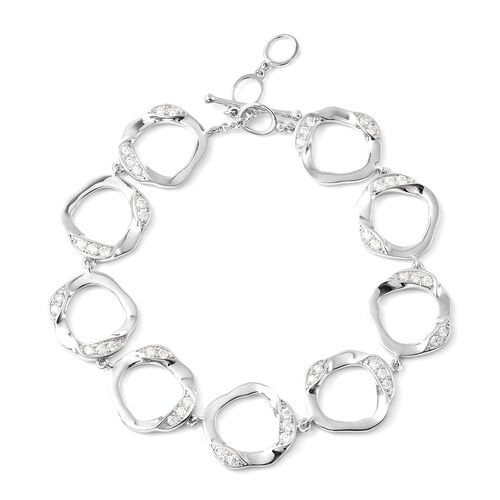 LucyQ - White Moissanite Fluid Design Bracelet (Size 7.25 with 1 inch Extender) in Rhodium Overlay S
