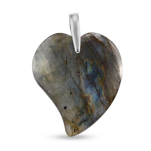Labradorite Pendant in Platinum Overlay Sterling Silver 69.00 Ct