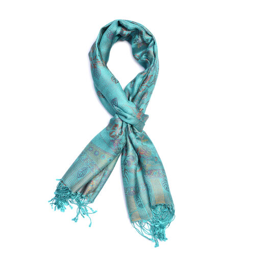 100% Silk Turquoise and Multi Colour Flower Pattern Scarf (Size 180x70 Cm)