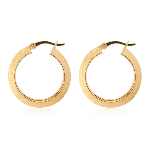 NY Close Out Deal- Diamond Cut Yellow Gold Overlay Sterling Silver Textured Hoop Earrings