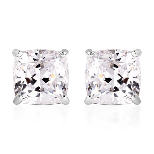 J Francis Rhodium Overlay Sterling Silver Stud Earrings (with Push Back) Made with SWAROVSKI ZIRCONI