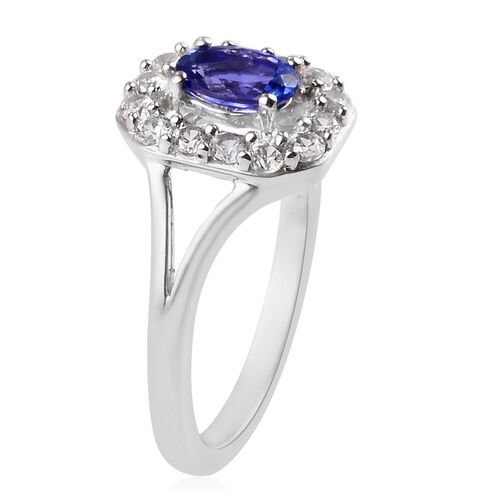 AAA Tanzanite and Natural Cambodian Zircon Ring in Platinum Overlay Sterling Silver 1.06 Ct.