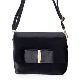 Black Colour Velvet Cross Body Bag with Adjustable Shoulder Strap (Size 24x17x7 Cm)