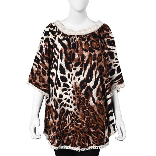 Leopard Pattern Apparel with Lace Collar (One Size Fits All; 77x67 Cm) - Brown and White
