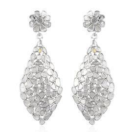 3.50 Ct Polki Diamond Floral Drop Earrings in Platinum Plated Sterling Silver 5.70 Grams