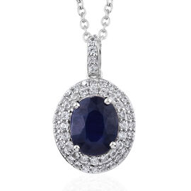 3.95 Ct Kashmir Blue Kyanite and Cambodian Zircon Halo Pendant with Chain in Sterling Silver