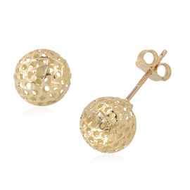 JCK Vegas Designer Inspired  - ILIANA 18K Yellow Gold Diamond Cut Stud Earrings (with Push Back) Gol