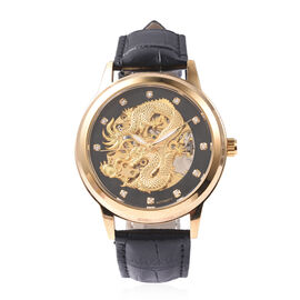 GENOA Automatic Dragon Skeleton Crystal Studded Water Resistant Watch in Dual Tone with Leather Stra