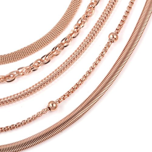 Set of 5 Stainless Steel Bismark, Foxtail, Snake, Singapore and Ball Station Chain Necklace (Size 20) in Rose Gold Tone