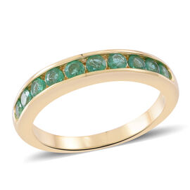 ILIANA 18K Yellow Gold AAA Kagem Zambian Emerald (Rnd) Half Eternity Band Ring 1.000 Ct. Gold Wt 4.7