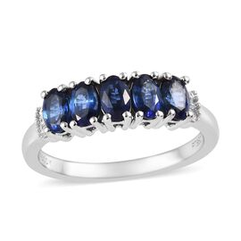 RHAPSODY 950 Platinum AAAA Royal Blue Sapphire (Ovl), Diamond (VS / E-F) Ring 1.60 Ct, Platinum wt 5