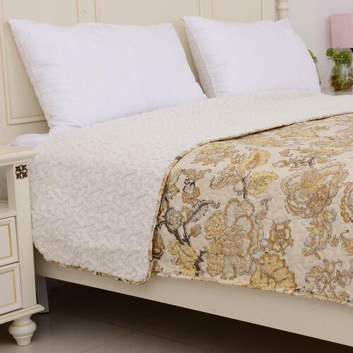 Microfiber Sherpa Quilt (Size 240x260 Cm) Cream and Multi Colour