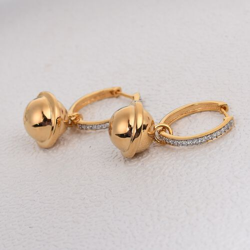 Sundays Child - Natural Cambodian Zircon Earrings in 14K Gold Overlay Sterling Silver, Silver wt. 12.00 Gms