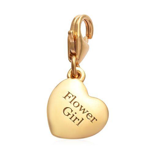 14K Gold Overlay Sterling Silver Flower Girl Heart Charm