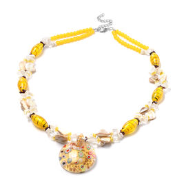 Yellow Murano Beads, White Austrian Crystal, Red Garnet and Multi Gemstone Necklace (Size 28 with 3