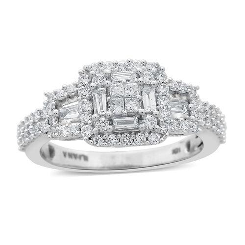 ILIANA 18K White Gold IGI Certified Diamond (SI/G-H) (Sqr and Bgt) Ring 1.000 Ct.