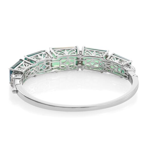 Peacock Quartz (Oct), White Topaz Bangle (Size 7.5) in Platinum Overlay Sterling Silver 58.500 Ct.