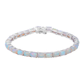 12.44 Ct Ethiopian Welo Opal Tennis Bracelet in Rhodium Plated Sterling Silver 8.80 Grams 8 Inch