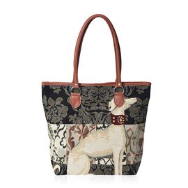 Beige Dog Pattern Tote Bag (Size 42x31x12x36 Cm) with Zipper Closure