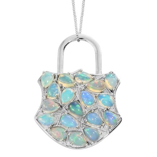 Ethiopian Welo Opal (Pear) Padlock Inspired Pendant with Chain in Platinum Overlay Sterling Silver 4