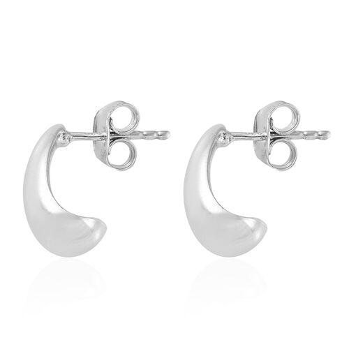 Platinum Overlay Sterling Silver J Hoop Earrings (with Push Back), Silver wt 3.90 Gms.