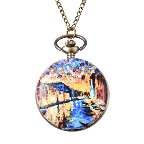 STRADA Japanese Movement Venice Pattern Pocket Watch with Chain (Size 31) in Antique Bronze Plated