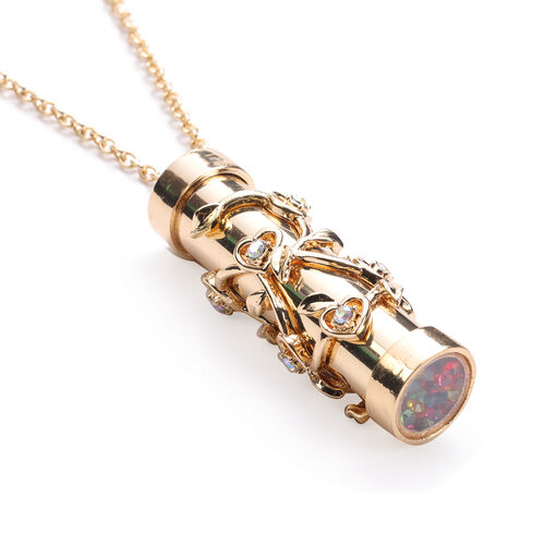Multi Colour Austrian Crystal Kaleidoscope Pendant with Chain (Size 32 with Extender) in Yellow Gold Tone