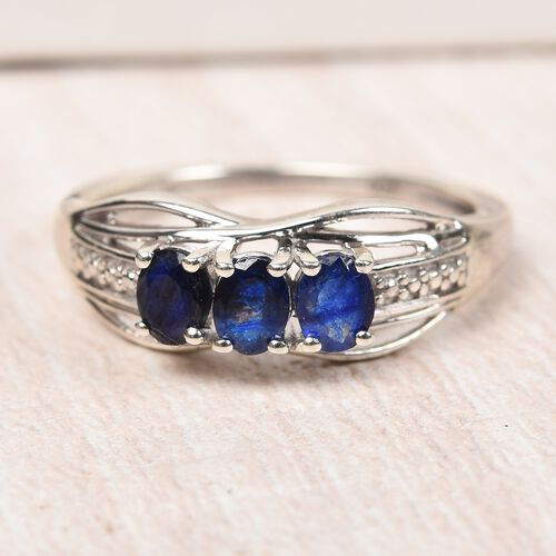 Masoala Sapphire Ring in Platinum Overlay Sterling Silver
