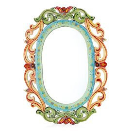Home Decor - Nakkashi Handcarved and Handpainted Vine Wall Mirror (Size 60x2.5x42 Cm)