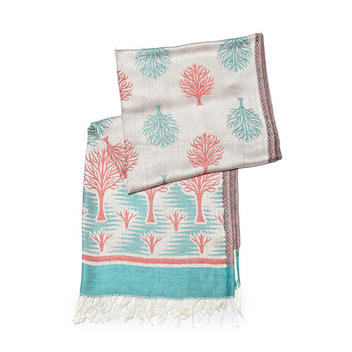 Off White, Green and Multi Colour Tree Pattern Jacquard Scarf (Size 190x70 Cm)