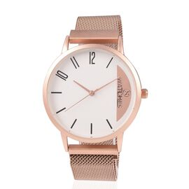 STRADA Japanese Movement Water Resistant Watch with Rose Gold Colour Mesh Chain Strap