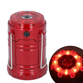 LED Lantern Lamp with Flashlight (3xAAA battery Not Included) (Size 6.8x6.8x10 Cm) - Red